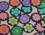 20 SLICES- Flowers on Black Fimo Nail Art Mix