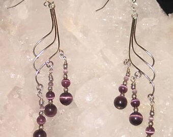CLEARANCE 30% OFF - Originally Hand made Sterling Silver Dangle Earrings w/Purple Cats Eye Beads