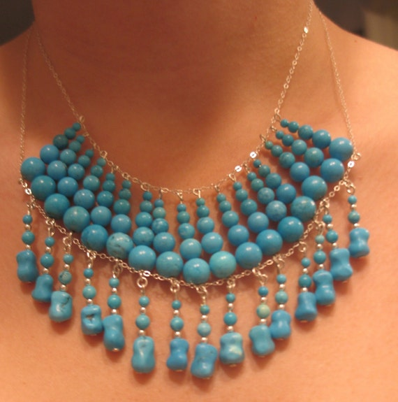 CLEARANCE - 30% OFF Blue Turquoise Beaded Necklace Originally 54.00 now 37.80