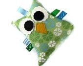 Stuffed Owl Plush Rattle Baby Toy Small Owl Softie Minky Blue Green
