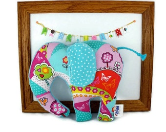 Plush Animal Elephant Minky Cotton Turquoise Red Purple Pink Ready to Ship!
