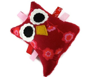 Owl Plush Rattle Softie Baby Toy Small Stuffed Owl Minky Red Maroon Pink