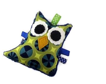 Plush Owl Rattle Baby Toy Stuffed Minky Softie Navy Blue Green