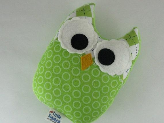 Owl Plush Toy Small Pillow Softie Minky Green White Blue
