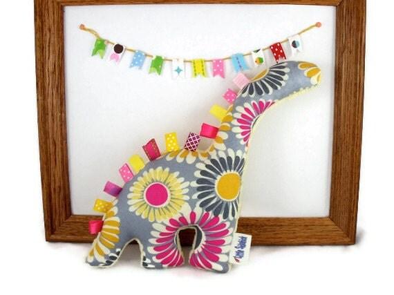 Stuffed Dinosaur - Plush Minky Animal - Handmade Baby Toy - Pink Yellow Gray