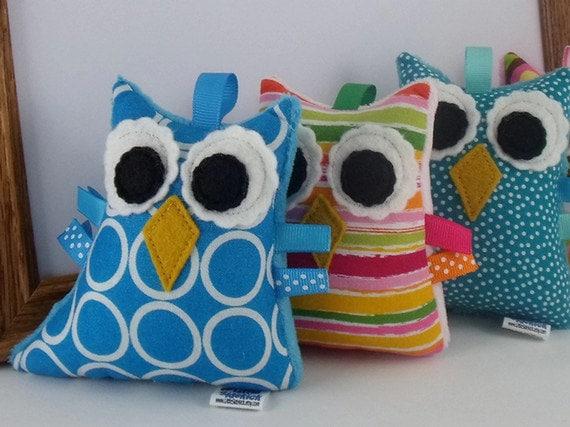 Plush Owl Rattle Softie Baby Toy - Turquoise