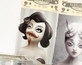 Bearded Lady n her mustache. circus of freaks ACEO illustration print ( 3.5 x 2.5 ) - art by KarolinFelix