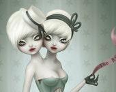 Conjoined Twins. 8x10. victorian freakshow. circus burlesque. cabinet of curiosities. medical oddities. pop surreal art by KarolinFelix