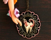 Mr Worm & the assassination of Bad Tooth Vincent - original cameo necklace by KarolinFelix