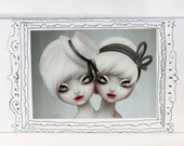 Conjoined Twins, cute small illustration in ACEO format ( 3.5 x 2.5 ) - circus art by KarolinFelix