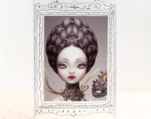 Valentine. miniature art print. ACEO. ATC 3.5 x 2.5,  victorian circus pop surrealism by KarolinFelix