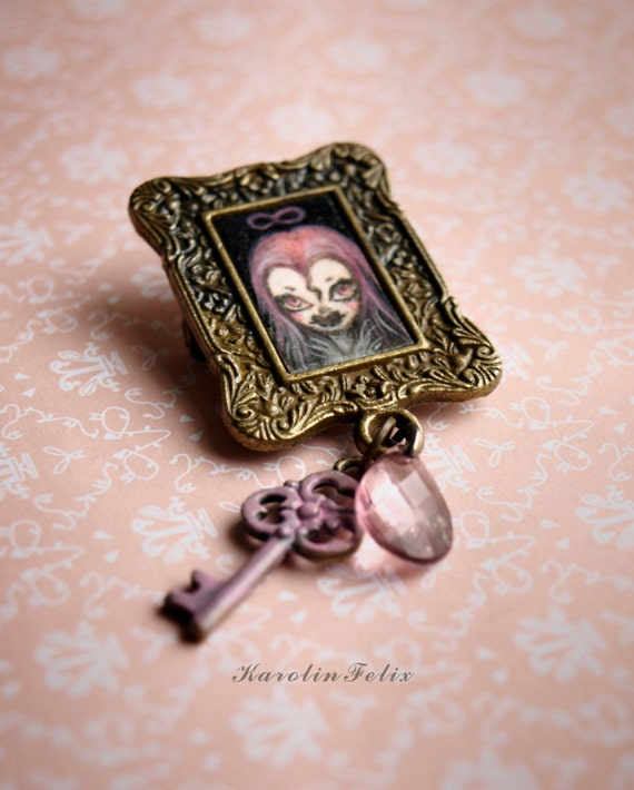 reserved for Margarita. Vampirella and a pink key to the portrait - miniature painting - original cameo brooch by KarolinFelix