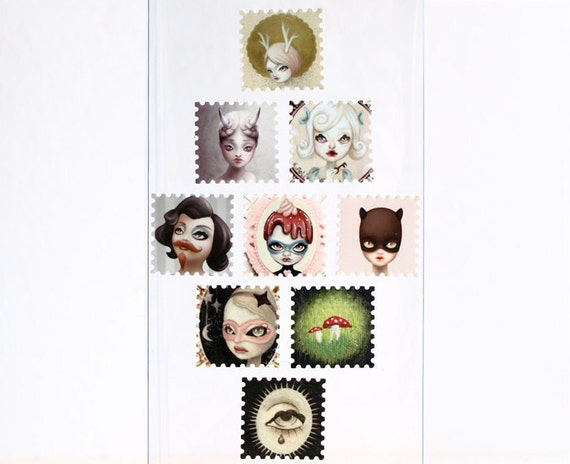 Illustration sticker set 2, cute stamp stickers, miniature curious pop surreal art by KarolinFelix