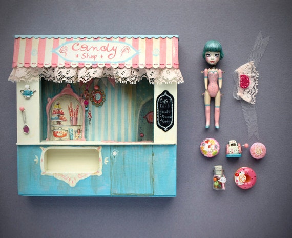Candy Shop diorama - dollhouse wall art with candies, cupcakes and original ooak art doll by KarolinFelix