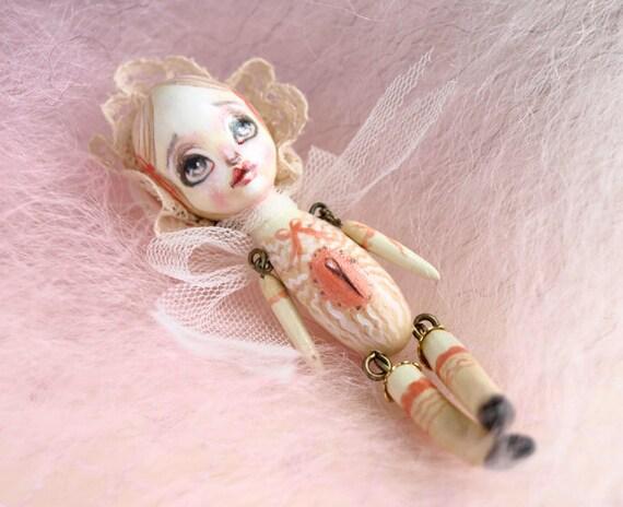 reserved for Melissa - Lisa the Poppet - miniature doll friend for Blythe or Monster High - ooak art doll by KarolinFelix