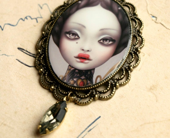 sweet Valentine. necklace with cameo. vintage inspired curiouser and curiouser art by KarolinFelix