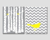 Set of 2 Prints - Gray Forest and Gray Chevron Pattern with Yellow Birds - 8x10 art prints