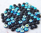 Last One - 200 - Jet Black AB Czech Pressed Glass 2x4mm Donut Spacer Beads