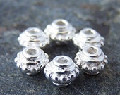 Last One - 10 - Sterling Silver 5mm Bali Style Spacer Beads