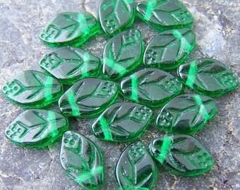 Last One - 26 - Emerald Green Czech Glass 12x7mm Leaf Beads