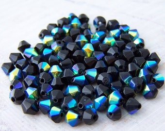 50 - Jet Black AB Czech Fire Polished 4.5mm Faceted Bicone Beads