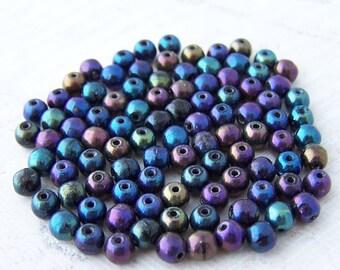 Super Sale! Last One - 330 - Iris 4mm Round Czech Glass Druk Beads