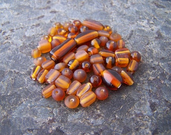 Super Sale! Last One - 60 - Assorted Amber Brown Glass Beads Mixed Shapes