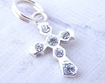Super Sale - 1 - Sterling Silver Crystal Cross Charm with Split Ring