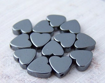 Last One - 90 - 6mm Hematite Heart Beads