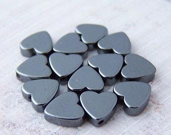 Super Sale! Last One - 90 - 6mm Hematite Heart Beads