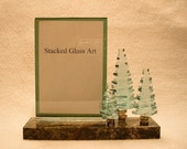 Stacked Glass Pine Trees Picture Frame Photo Holder
