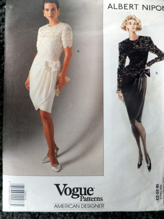 Vintage vogue 2492 American Designer Albert Nipon size 18-20-22  (uncut, factory folds)