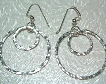 Fun Fine Silver Double Hoops