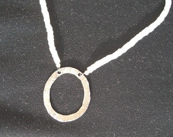 SOLD Moonstone Necklace with Hammered Oval