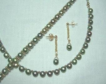 Green Freshwater Pearl Earrings