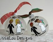 """Personalized Our First Christmas Wedding Ornament 4"""" frosted opaque"""