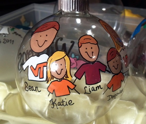 "Personalized Family Christmas Ornament 2 1/2"" glass ball"