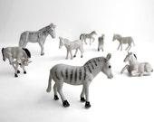 8 Little Plastic Donkeys and Horses
