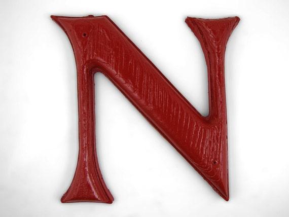 Vintage 7-Inch Plastic Red Letter N
