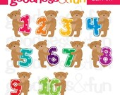 Buy 2, Get 1 FREE - Teddy Bear Fun with Numbers Clipart - Digital Birthday Clipart - Instant Download