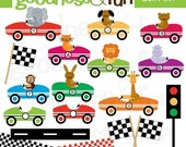 Buy 2, Get 1 FREE - Little Racers Animal Clipart - Digital Animal Racerdriver Clipart - Instant Download
