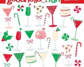 Buy 2, Get 1 FREE - Holiday Spirits Christmas Clipart - Digital Holiday Spirits Christmas Clipart - Instant Download