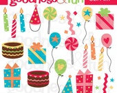 Buy 2, Get 1 FREE - Birthday Doodles Clipart - Digital Birthday Clipart - Instant Download