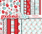 Buy 2, Get 1 FREE - Let It Snow Winter Digital Papers - Digital Winter Paper Pack - Instant Download