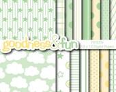 Buy 2, Get 1 FREE - Sweet Dreams Green Digital Papers - Digital Baby Shower Paper Pack - Instant Download