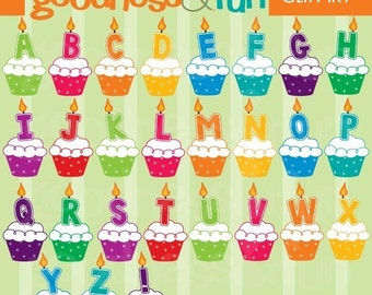 Buy 2, Get 1 FREE - Alphabet Cupcakes Clipart - Digital Alphabet Cupcake Clipart - Instant Download