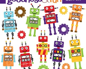 Buy 2, Get 1 FREE - Robot Fun Clipart -  Digital Robot Clipart - Instant Download