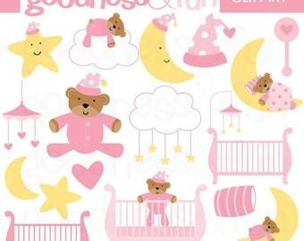 Buy 2, Get 1 FREE - Sweet Dreams Pink Clipart - Digital Baby Nursery Clipart  - Instant Download