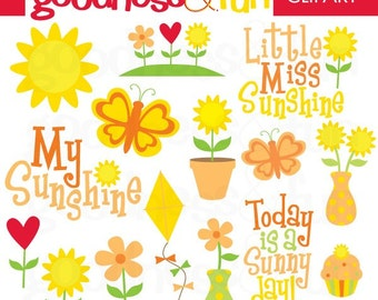 Buy 2, Get 1 FREE - My Sunshine Clipart - Digital Sunshine Clipart - Instant Download