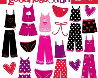 Buy 2, Get 1 FREE - Pretty Pajamas Clipart - Digital Pajamas & Valentine Clipart - Instant Download